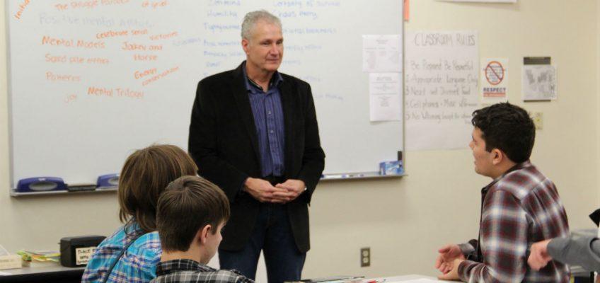 Robert Clark speaking to Students