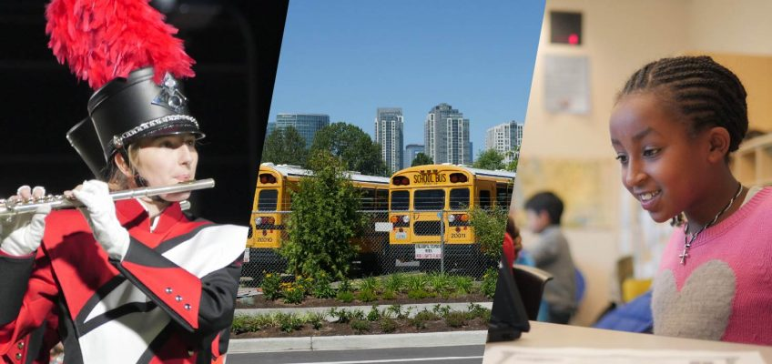 Collage of students and school buses