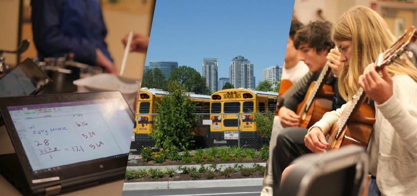 A collage of a computer, school buses and a student playing guitar